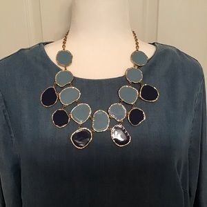 Statement necklace in blues and gold